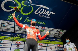 Overall best in points classification Matej MOHORIC of BAHRAIN VICTORIOUS celebrates at trophy ceremony during the 5th Stage of 27th Tour of Slovenia 2021 cycling race between Ljubljana and Novo mesto (175,3 km), on June 13, 2021 in Slovenia. Photo by Vid Ponikvar / Sportida