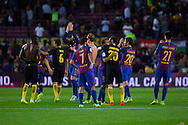 FC Barcelona and Atlético de Madrid change his t-shirts during the La Liga match between Barcelona and Atletico Madrid at Camp Nou, Barcelona, Spain on 21 September 2016. Photo by Eric Alonso.