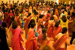 Women dancing during the celebration of Navratri; the Hindu festival of Nine Nights,