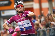 Arrival sprint Elia Viviani (ITA - QuickStep - Floors) celebration during the 101th Tour of Italy, Giro d'Italia 2018, stage 13, Ferrara - Nervesa della Battaglia 180 km on May 18, 2018 in Italy - Photo Luca Bettini / BettiniPhoto / ProSportsImages / DPPI