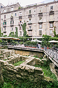 The former western walls of the Ancient Greek city of Neapolis exposed for viewing under the Piazza Bellini in Naples, southern Italy. The plaza features the palaces of Firrao-Bisingano, Castriota Scanderbeg, and the Principi di Conca.