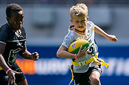 Action from todays NFL Flag National Championship Finals  during the NFL UK Media Day at Tottenham Hotspur Stadium, London, United Kingdom on 3 July 2019.