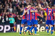Palace players celebrate 2nd goal score by Crystal Palace #18 James McArthur  during the EFL Cup match between Crystal Palace and Ipswich Town at Selhurst Park, London, England on 22 August 2017. Photo by Sebastian Frej.