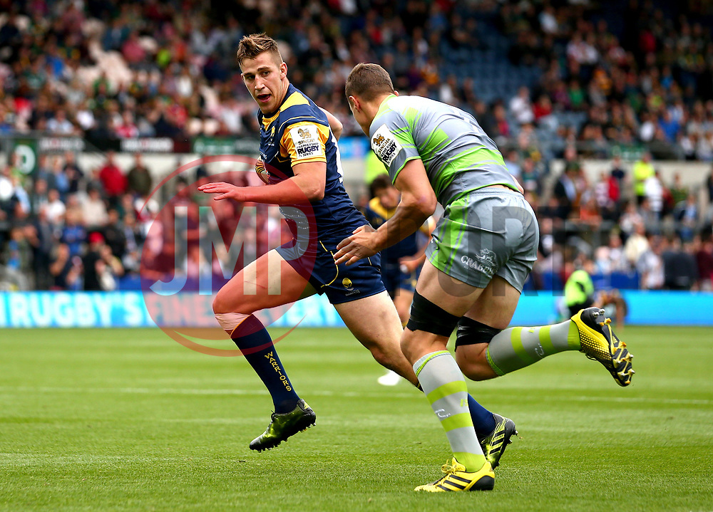 Huw Taylor of Worcester Warriors takes on Glen Young of Newcastle Falcons - Mandatory by-line: Robbie Stephenson/JMP - 29/07/2017 - RUGBY - Franklin's Gardens - Northampton, England - Worcester Warriors v Newcastle Falcons - Singha Premiership Rugby 7s