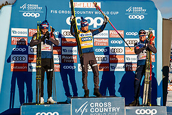 March 16, 2019 - Falun, SWEDEN - 190316  Sindre Bjørnestad Skar, Emil Iversen and Johannes Høsflot Klæbo of Norway celebrates on the podium after the Men's cross-country skiing sprint final during the FIS Cross-Country World Cup on march 16, 2019 in Falun  (Credit Image: © Daniel Eriksson/Bildbyran via ZUMA Press)