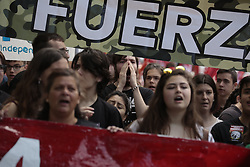 May 1, 2019 - Madrid, Spain - Protesters are seen shouting slogans during the demonstration..Thousands of protesters demonstrate on the International Workers' Day convoked by the majority unions UGT and CCOO to demand policies and reductions in unemployment levels in Spain, against job insecurity and labour rights. Politicians of the PSOE and Podemos have participated in the demonstration. (Credit Image: © Lito Lizana/SOPA Images via ZUMA Wire)