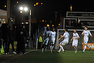 Wimbledon 's Kevin Sainte-Luce (16) celebrates after he scores his sides 2nd goal.  Skybet football league 2 match, Newport county v AFC Wimbledon  at Rodney Parade in Newport, South Wales on Tuesday 25th Feb 2014.<br /> pic by Andrew Orchard, Andrew Orchard sports photography.