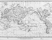 The world on Mercator Projection Copperplate engraving From the Encyclopaedia Londinensis or, Universal dictionary of arts, sciences, and literature; Volume VIII;  Edited by Wilkes, John. Published in London in 1810.