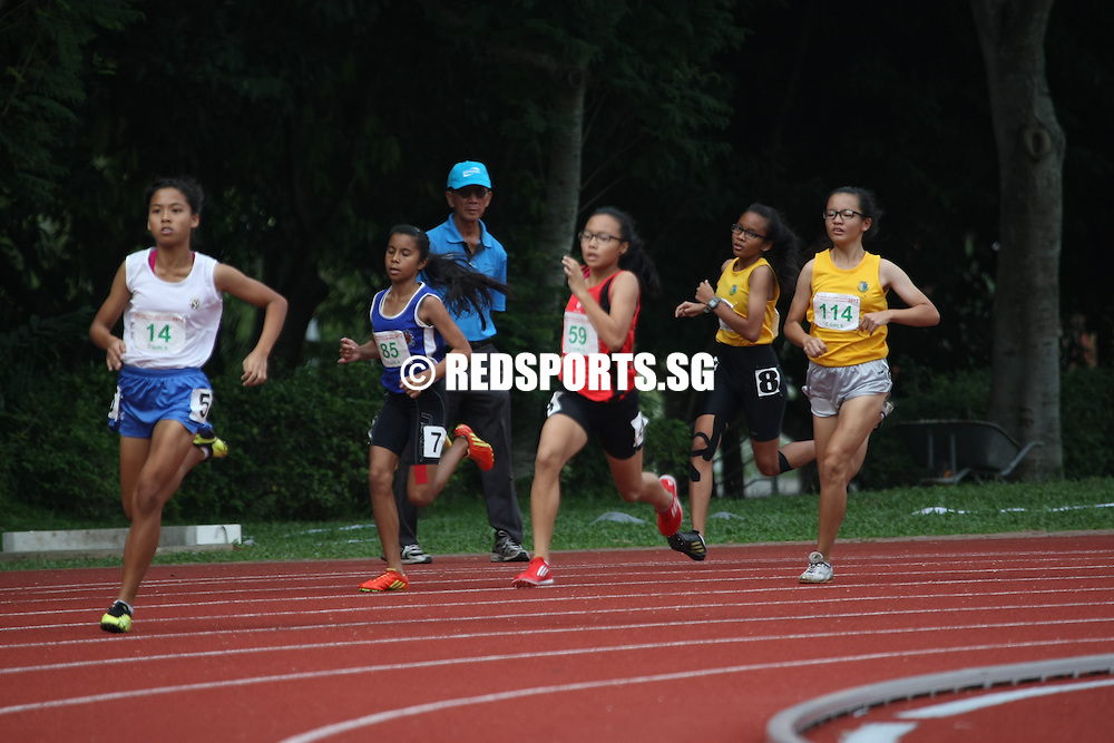 Chua Chu Kang Stadium, Thursday, April 11, 2013 — Celeste Goh of Singapore Sports School took home the gold with a time of 63.16 seconds in the C Division 400m at the 54th National Schools Track and Field Championships.<br /> <br /> Story: http://www.redsports.sg/2013/04/16/c-girls-400m-celeste-goh-singapore-sports-school/