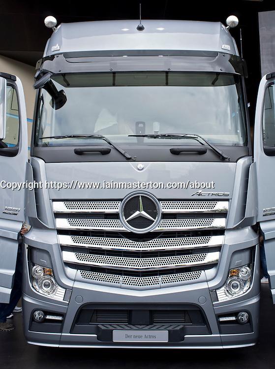 Mercedes Actros truck at Frankfurt Motor Show or IAA 2011 in Germany