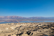 Dead Sea Works (DSW) evaporation pools. The mineral rich salt deposits are than collected and processed. Dead Sea, Israel