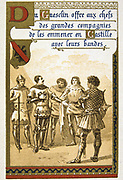 Bertrand du Guesclin or Gueselin (c1320-1380) 'Eagle of Brittany', Constable of France from 1370. French military commander during the Hundred Years' War. Guesclin put at  at head of 'free companies' 1366-1369. Trade Card