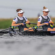 Zoe McBride & Jackie Kiddle , New Zealand elite  Womens Lightweight Double Scull<br /> <br /> Racing the heats at FISA World Rowing Cup III on Friday 12 July 2019 at the Willem Alexander Baan,  Zevenhuizen, Rotterdam, Netherlands. © Copyright photo Steve McArthur / www.photosport.nz
