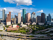 High quality aerial view of Downtown Houston in Texas skyline, with commercial building in a blue sky day.