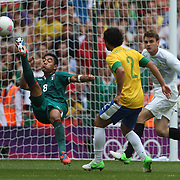 Marco Fabian, Mexico, hits the bar with an overhead kick during the Brazil V Mexico Gold Medal Men's Football match at Wembley Stadium during the London 2012 Olympic games. London, UK. 11th August 2012. Photo Tim Clayton