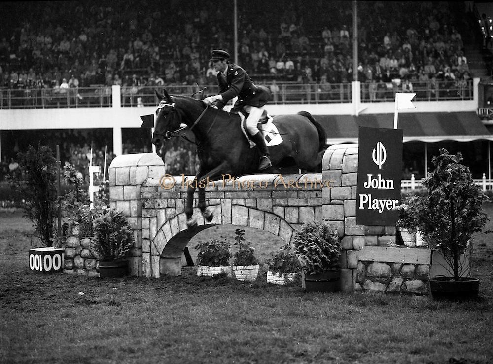 "07/08/1980<br /> 08/07/1980<br /> 07 August 1980<br /> R.D.S. Horse Show: John Player International, Ballsbridge, Dublin. Captain J. Roche (Ireland) on ""Lough Crew""."