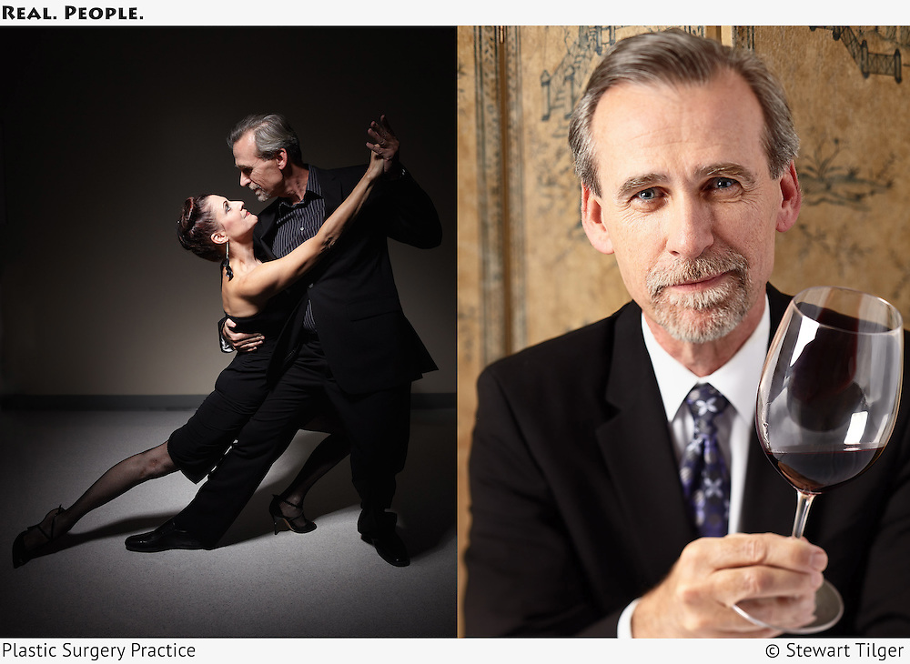 Portrait of a couple dancing the Tango and portrait of man with wine.
