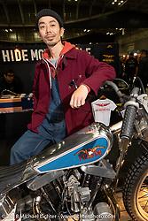 Hide Motorcycles' Hideya Togashi with his latest custom, a 1966 Harley-Davidson XLCH Sportster at the 27th Annual Mooneyes Yokohama Hot Rod Custom Show 2018. Yokohama, Japan. Sunday, December 2, 2018. Photography ©2018 Michael Lichter.