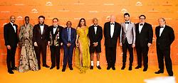 (left to right) Keegan-Michael Key, Florence Kasumba, Seth Rogen, Elton John, Lebo M, Beyonce, Pharell Williams, Sir Tim Rice, Billy Eichner, Jon Favreau and Hans Zimmer attending Disney's The Lion King European Premiere held in Leicester Square, London.