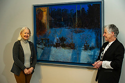 Pictured: Victoria Crowe OBE and Christine De Luca in front of Light and Reflection From Within<br />