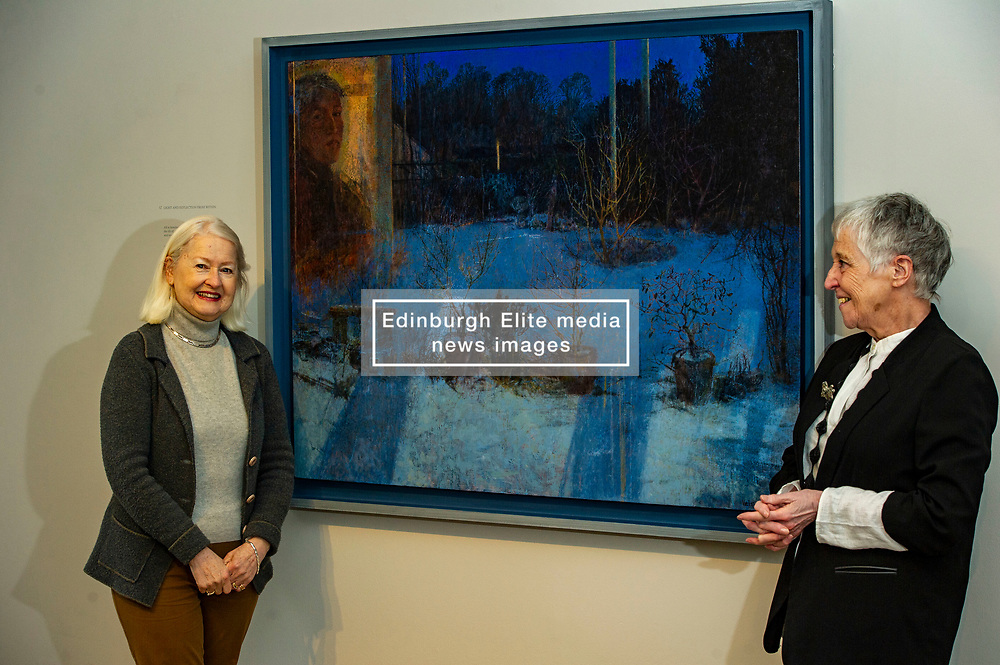 Pictured: Victoria Crowe OBE and Christine De Luca in front of Light and Reflection From Within<br /><br />Another Time, Another Place at The Scottish Gallery - an exhibition of works by renowned artist Victoria Crowe OBE which have inspired 12 poems by poet Christine De Luca<br /><br />Ger Harley | EEm 29 April 2021