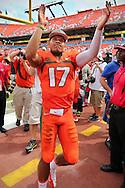 UM quarterback Stephen Morris celebrates after defeating the University of Florida Gators at Sun Life Stadium in Miami Gardens on Saturday, September 7, 2013.
