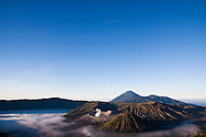 The sun rises over the crater at Penanjakan as viewed from Mount Bromo in East Java, Indonesia, Southeast Asia