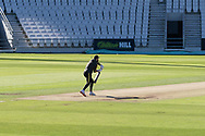Aaron Lilley plays shadow cricket before the final day of Bob Willis Trophy match between Yorkshire County Cricket Club and Leicestershire County Cricket Club at Emerald Headingley Stadium, Leeds, United Kingdom on 9 September 2020.