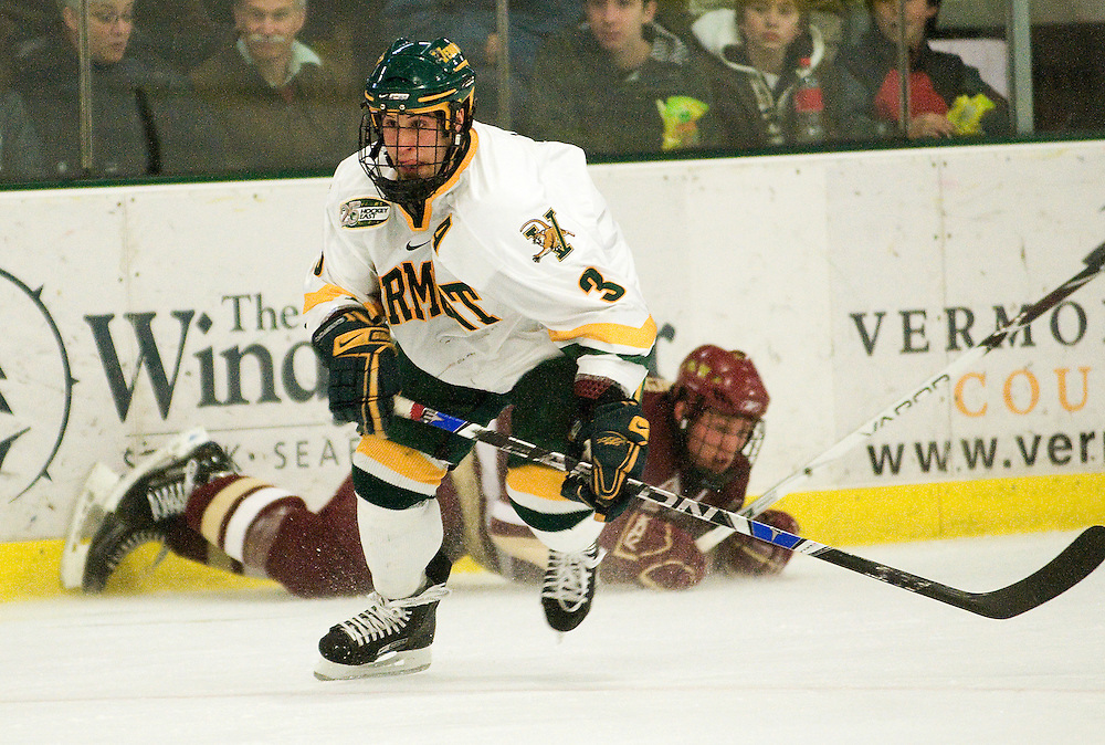 09 January 2009: Catamounts forward Peter Lenes #3 in action during the game in which the Vermont Catamounts and the Boston College Eagles skate to a tie in overtime 3-3 at Gutterson Fieldhouse in Burlington, Vermont.