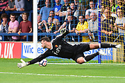 Watford Goalkeeper Daniel Bachmaan (35) is beaten during the Pre-Season Friendly match between AFC Wimbledon and Watford at the Cherry Red Records Stadium, Kingston, England on 15 July 2017. Photo by Jon Bromley.