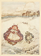 The Crab and his Mother from the book ' Aesop's fables ' Published in 1912 in London by Heinemann and in  New York by Page Doubleday Illustrated by Arthur Rackham,