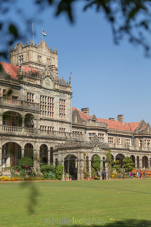 View of Viceregal lodge seen through leaves, Shimla, India