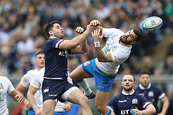 March 17, 2018 - Rome, RM, Italy - Fight for the ball during the Six Nations 2018 match between Italy and Scotland at Olympic Stadium on March 17, 2018 in Rome, Italy. (Credit Image: © Danilo Di Giovanni/NurPhoto via ZUMA Press)