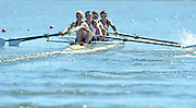 Varese,  ITALY. 2012 FISA European Championships, Lake Varese Regatta Course. ..GBR LM4-, Bow, Sam SCRIMGEOUR, Adam FREEMAN-PASK, William FLETCHER and Jonathan CLEGG at the start of their heat of the Men's lightweight Four...{TIME  {DOW}  14/09/2012.....[Mandatory Credit Peter Spurrier:  Intersport Images]  ..2012 European Rowing Championships ..Rowing, European,  2012 010738.jpg....