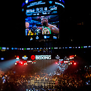 Deontay Wilder fights against Luis Ortiz during the WBC Heavyweight Championship boxing match at Barclays Center on Saturday, March 3, 2018 in Brooklyn, New York. Wilder would win the bout by knockout in the tenth round to retain the title and move to 40-0. (Alex Menendez via AP)