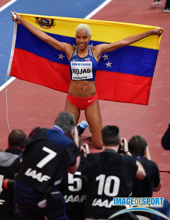 Women's Triple Jump Champion Yulimar Rojas (VEN) poses for photographers after winning the Final with a jump of 48-0 (14.63m) during the morning session of the IAAF World Indoor Championships at Arena Birmingham in Birmingham, United Kingdom on Saturday, Mar 2, 2018. (Steve Flynn/Image of Sport)