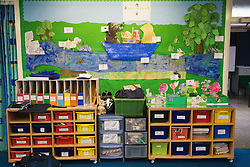 Wall and drawers in classroom of special school,