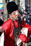 Chinese artist taking part to the traditional Chinese New Year procession in Soho, London, UK, on Sunday, Feb. 13, 2005.  **ITALY OUT**