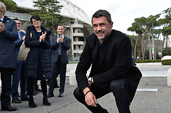 March 12, 2018 - Rome, Italy - AC Milan's former player Paolo Maldini poses during the ceremony Walk of Fame in Rome, Italy, on 12 March 2018. The Walk of Fame is enriched with 5 more samples. Along the Via Olimpiadi, which leads straight to the Olympic stadium in Rome, new plates have been added dedicated to five blue champions no longer in business: the historic Milan captain and national defender, soccer player Paolo Maldini, the swimmer Massimiliano Rosolino, the middle distance runner Luigi Beccali, the cyclist Ercole Baldini and the volleyball player Samuele Papi. (Credit Image: © Silvia Lore/NurPhoto via ZUMA Press)