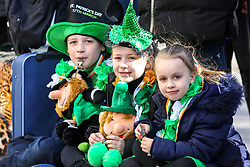 © Licensed to London News Pictures. 17/03/2019. London, UK. Children celebrate St Patrick's Day as a parade travels through the streets of central London. Photo credit: Dinendra Haria/LNP