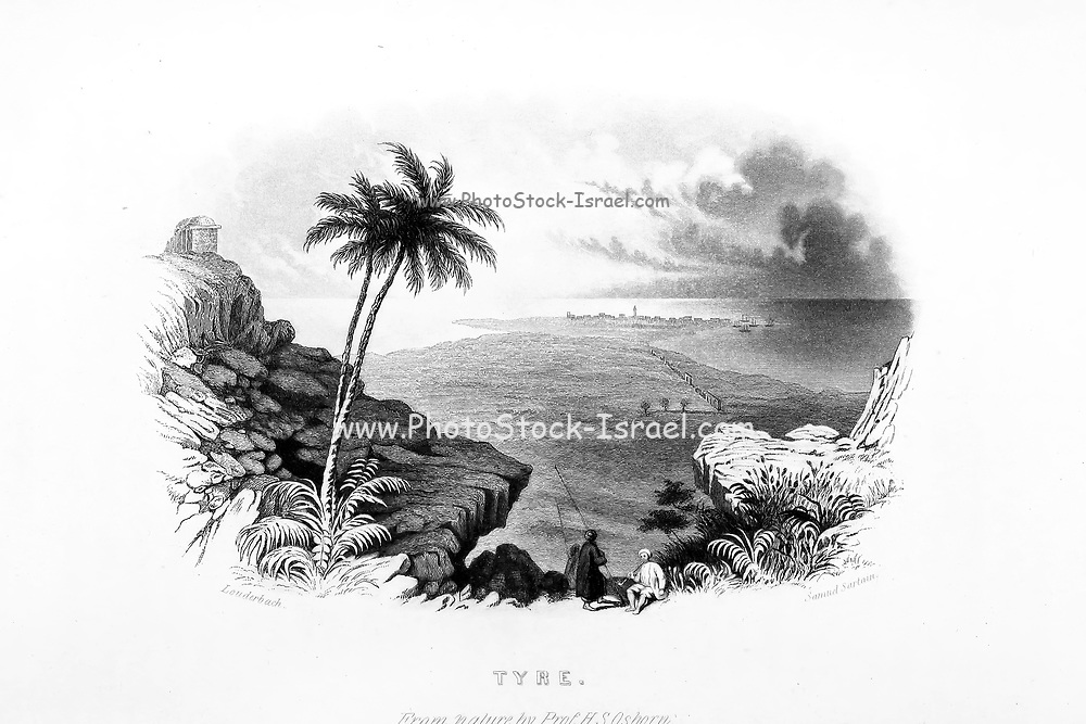 Tyre Steel Engraving engraved by Samuel Saratin from a drawing by the Author from the book 'Palestine, past and present' with Biblical, Literary and Scientific Notices by Rev. Osborn, H. S. (Henry Stafford), 1823-1894 Published in Philadelphia, by J. Challen & son; in 1859