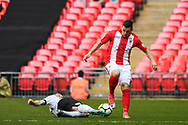 Frankie Sutherland of Bromley FC (21) and Aaron Williams of Brackley Town (10) in action during the FA Trophy match between Brackley Town and Bromley at Wembley Stadium, London, England on 20 May 2018. Picture by Stephen Wright.