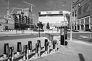 EDITORS NOTE: Image has been converted to black and white. The Westfield Shopping Centre in Shepherds Bush, is deserted due to lockdown as a result of the Coronavirus Pandemic on 16th April 2020 in London, United Kingdom. Coronavirus or Covid-19 is a new respiratory illness that has not previously been seen in humans. Much of Europe has been placed into lockdown, with stringent rules in place as part of a long term strategy, and in particular social distancing, and a stay at home policy.