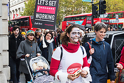 """London, October 31 2017. Working mothers' rights group Pregnant Then Screwed holds a March of the Mummies demonstration, marching from Trafalgar Square to Parliament Square, demanding """"recognition, respect and change for working mums"""". © Paul Davey"""