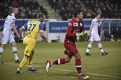 February 17, 2018 - Leuven, BELGIUM - OHL's Thai goalkeeper Kawin Thamsatchanan in action a soccer game between OH Leuven and KFCO Beerschot Wilrijk, in Heverlee, Leuven, Saturday 17 February 2018, on day 27 of the division 1B Proximus League competition of the Belgian soccer championship. BELGA PHOTO BRUNO FAHY (Credit Image: © Bruno Fahy/Belga via ZUMA Press)