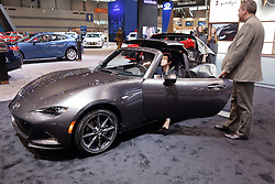 09 February 2017:  Mazda 2017 MX5 Miata RF convertible <br /> <br /> First staged in 1901, the Chicago Auto Show is the largest auto show in North America and has been held more times than any other auto exposition on the continent.  It has been  presented by the Chicago Automobile Trade Association (CATA) since 1935.  It is held at McCormick Place, Chicago Illinois<br /> #CAS17
