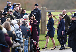 (Left to right) Princess Beatrice, Princess Eugenie and Lady Louise Windsor, leave after attending the morning church service at St Mary Magdalene Church in Sandringham, Norfolk.