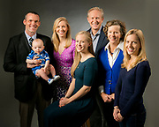 Jeff and Carson Howard pose together and with their family for a Duke Planned Giving ad