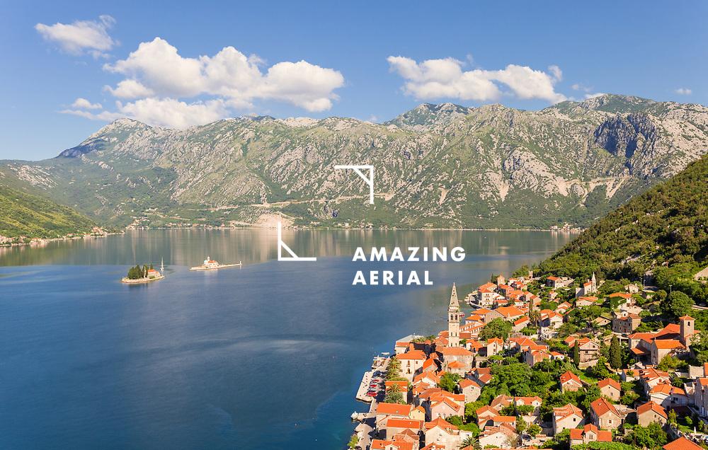 Aerial view of Perast,  Kotor Bay, Montenegro
