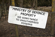 Ministry of Defence property sign No admittance to unauthorised persons on fence